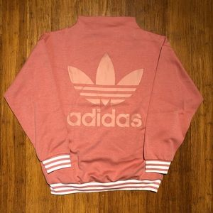 Adidas Logo High Neck Salmon Pink Sweatshirt NWT